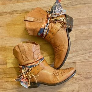 Size 8.5 Tan Ankle Boots UPCycled Cowgirl Boots